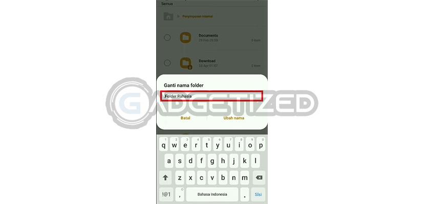 Masukkan Nama Folder Untuk Menyembunyikan File di HP Samsung