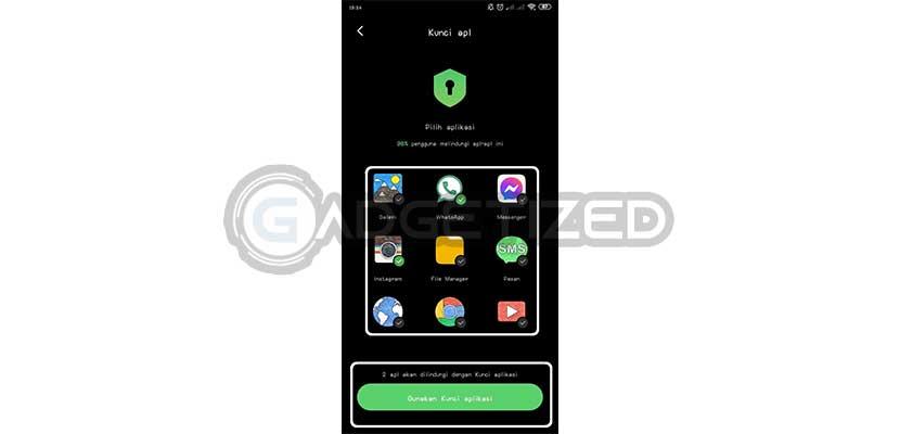 Pilih Aplikasi yang Ingin Dikunci